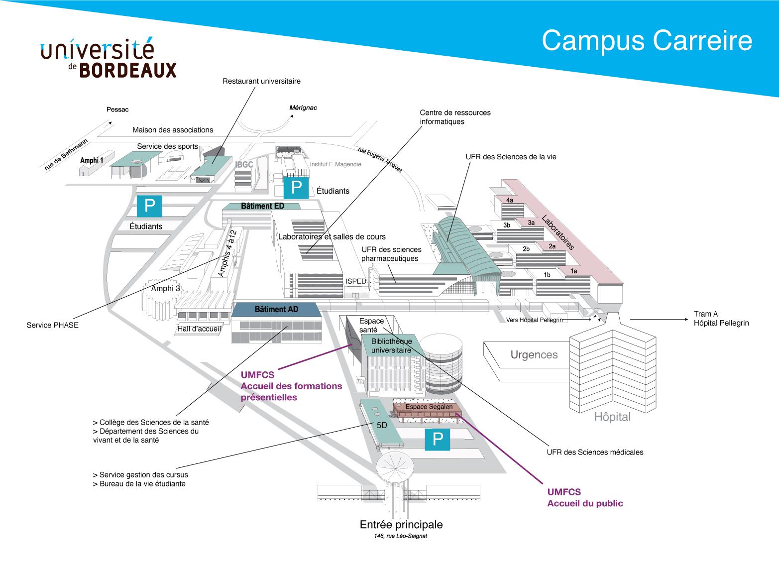 Carte Campus Bordeaux.Umfcs L Umfcs Situation Geographique